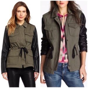 Sanctuary Military Faux Leather Green Jacket